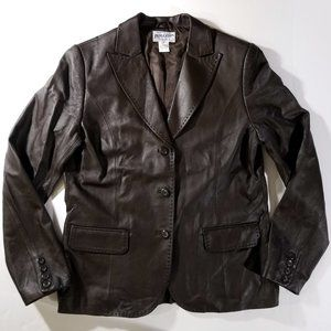 Pendleton Leather & Lined Brown Jacket w/ Pockets